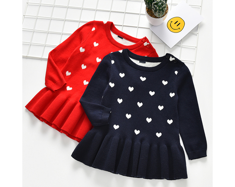 2 3 4 5 Years Toddler Girl Sweaters Spring Autumn Love Print Knitted Sweater for Girl Kids Clothing 2020 Baby Girl Sweater Dress