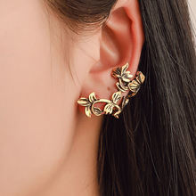 Retro hollow single ear clip leaves without holes earbone fashion earrings for men and women