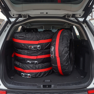 Image 2 - 4Pcs/Lot Car Spare Tire Cover Case Polyester Auto Wheel Tires Storage Bags Vehicle Tyre Accessories Dust proof Protector Styling