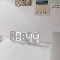4 Colors Creative Design 3D LED Digital Wall Clock Electronic Alarm Clock Nightlight Display Desktop Clocks for Home Living Room