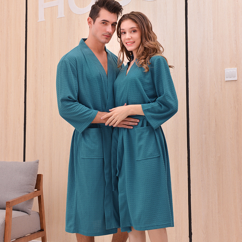 Unisex Spring Kimono Bathrobe Waffle Male Dressing Gown Robes Couple Nightgown Pocket Men Women Lounge Sleepwear Home Clothes
