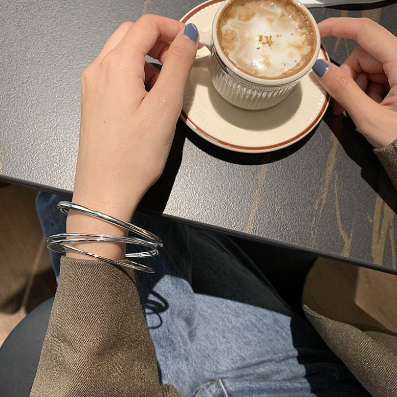 925 Sterling Silver Ins Simple Multi-turn Three Circle Shut Up Bracelets Bangle For Women Net Red Creative Fine Jewelry SAB185