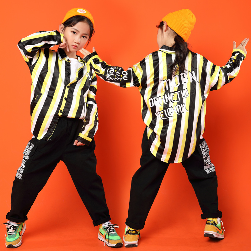 Children Cool Striped Lapel Shirt Tops Black Running Casual Hip Hop Pants Clothing For Girls Boy Jazz Dance Costume Clothes Wear