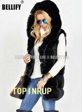 Casual Style  Luxury Black Color Bubble Hooded fox fur vest customized SNOWING season Vogue waistcoats