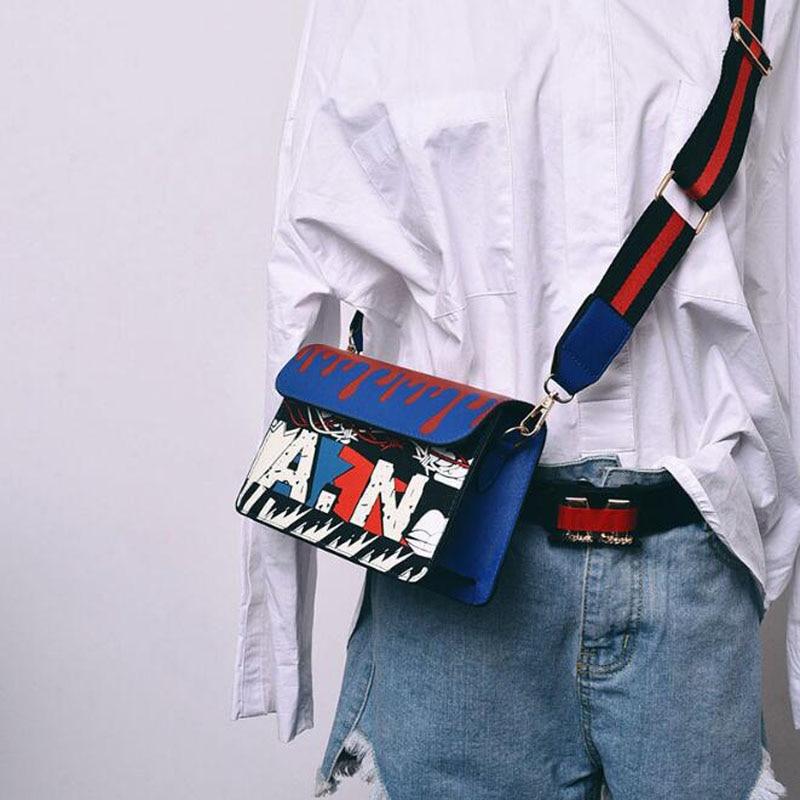 OKKDEY Handbags Luxury Fashion Korean Version Women Graffiti Printed Small Square Bag Shoulder Messenger Bag 2020 Female