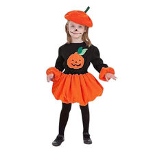 Toddler Baby girls dress Long Sleeve Autumn Halloween Cartoon Pumpkin Print Dress+Hat Outfits girl winter dress vestido infantil(China)