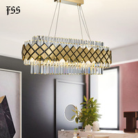 FSS Modern Crystal Gold Rectangle Chandelier Lighting For Dining Room Bedroom Round Chandeliers Living Room Light Fixtures