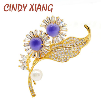 CINDY XIANG New Arrival Green Color Stone Flower Brooches For Women Cubic Zirconia Leaf Brooch Pin Elegant Shining Copper Metal cindy xiang colorful cubic zirconia daisy brooches for women sunflower brooch pin copper jewelry zircon corsage high quality