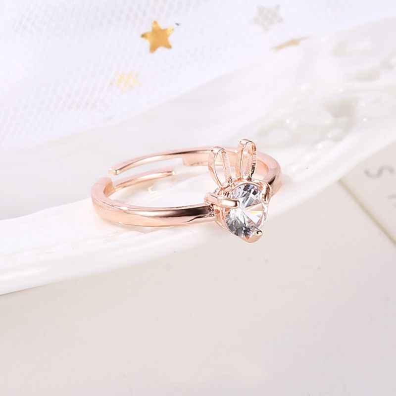 X женский модный сплав винтажный Кристалл милый кролик медь инкрустированный Циркон резные розовое золото серебро белый орнамент кольцо