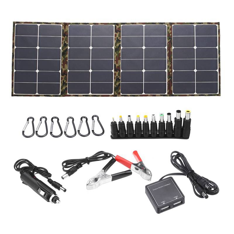 ELOS Outdoor 120W 18V Solar Panel Folding Solar Charger Camping Solar Battery Cell Charger for Mobile Phone Computer