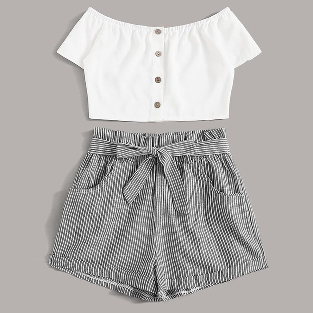 Conjunto de verão para mulheres, colete listrado elegante, shorts, roupa de duas peças, trajes de verão, mulheres, praia, roupas casuais