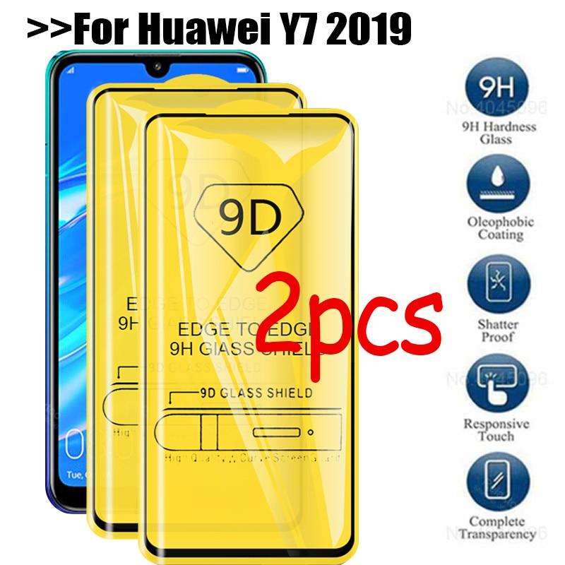 2pcs tempered glass on for huawei y7 2019 flim hauweii y7 glass y 7 y 7 7 y protective film y7 safty glass film y7 2019