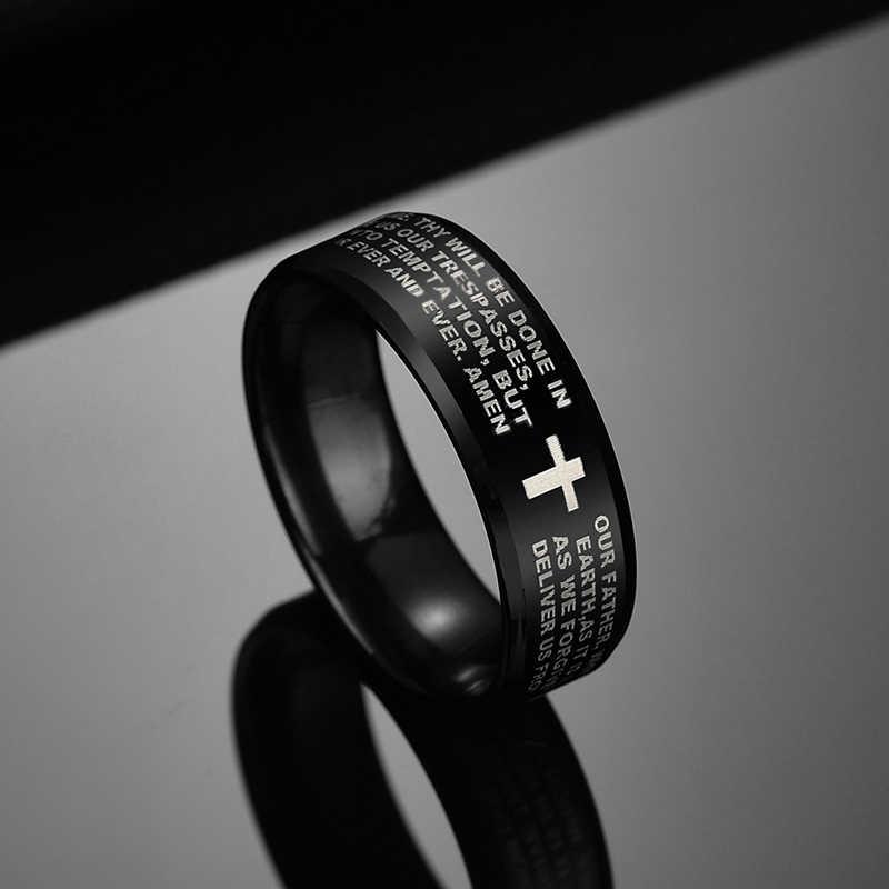 Letdiffery 8mm Black Bible Prayer Cross Men Rings Stainless Steel Christian Women Rings Birthday Gifts