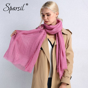 Image 2 - Sparsil Spring New Cotton Women Scarf Solid Color Crumple Retro Scarves With Short Tassels 180cm Big Shawls Muslim Female Hijabs