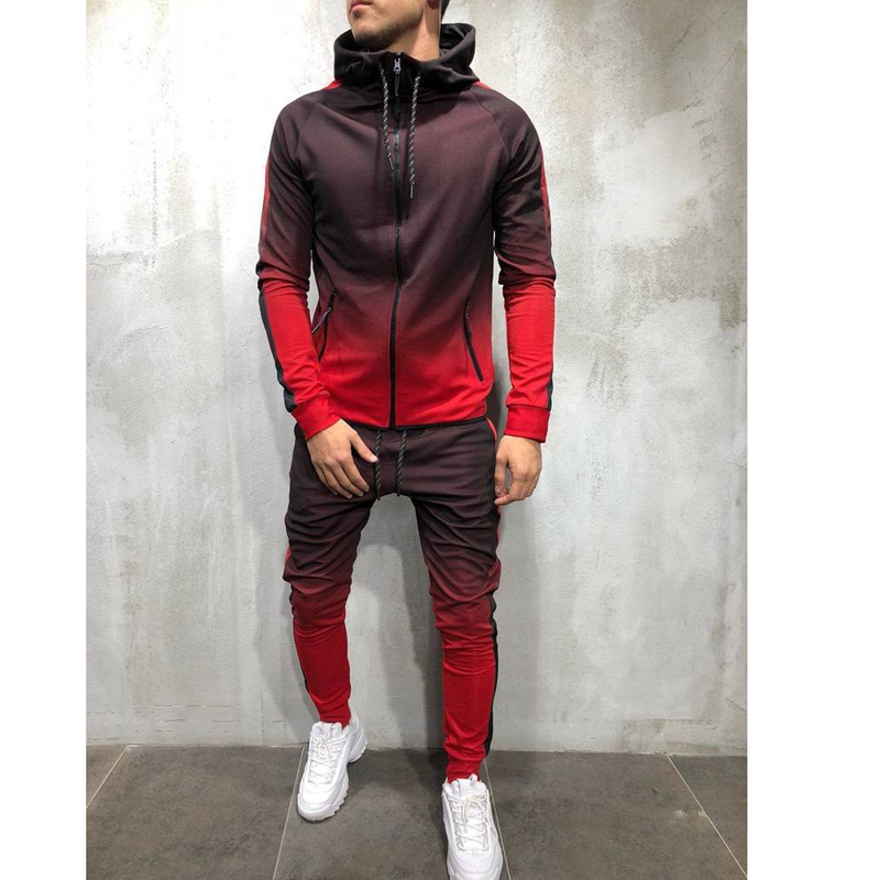 Men's Long Sleeve 3D Gradient Printing Zipper Hip Hop Running Hooded Fitness Outdoor Sports Suit