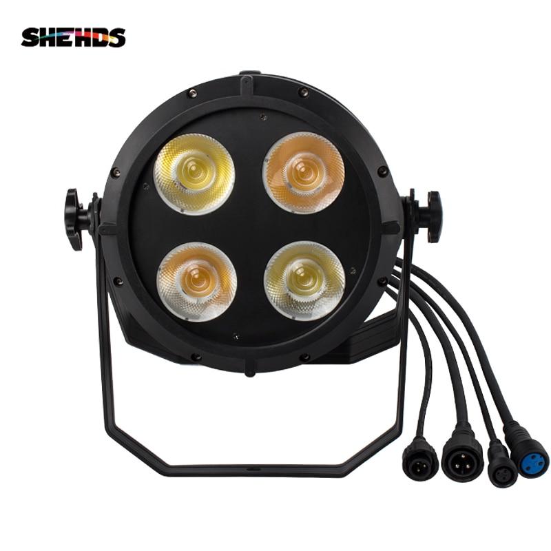 SHEHDS LED Waterproof 200W Cast Aluminum Par 4x50W Cool&Warm White Illumination Fixed Plug 4/8 Channel DMX512 Stage Effect D