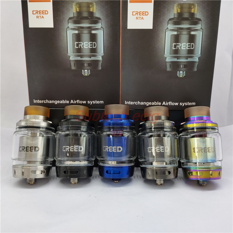 Hot Selling Creed RTA 25mm Diameter 4ml 6.5ml Capacity 3pcs Interchangeable Airflow System E-cig Tank Atomizer Vs Zeus RTA Tank