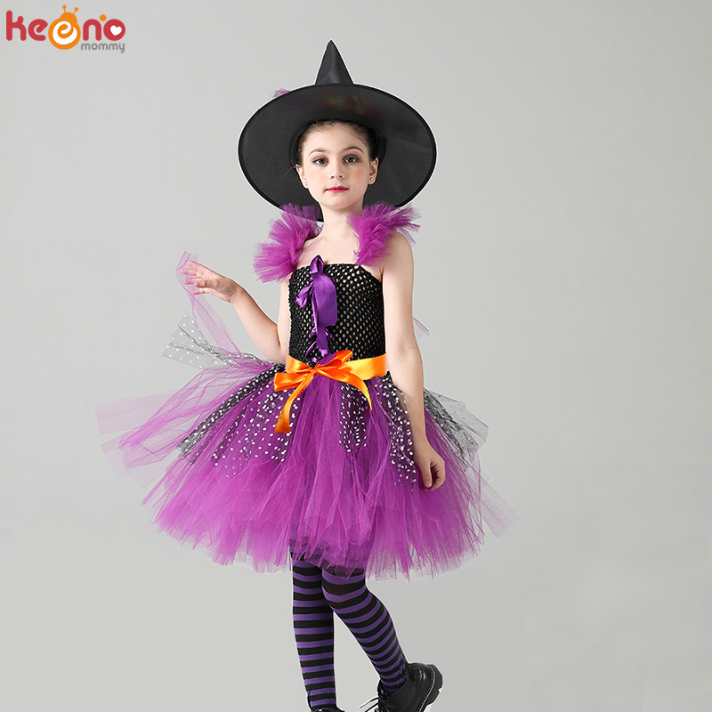 Girls Wicked Witch Halloween Costume Purple Black Kids Fancy Witch Tutu Dress with Hat Cosplay Dress for Children Carnival Party