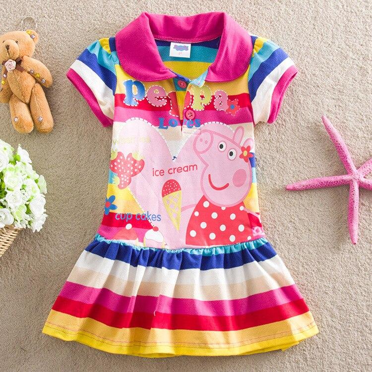Peppa Pig Original Model Toys Lovely  Kids Girl Dress Short SleeveDress Toy Summer Short-sleeved Dress Suit Dolls
