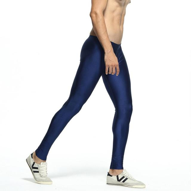 Sexy casual Compress Fitness Long Johns Shapewear Men's Stretch Workout Nylon solid Silver Tights Lounge Pants Home and Out Door 4
