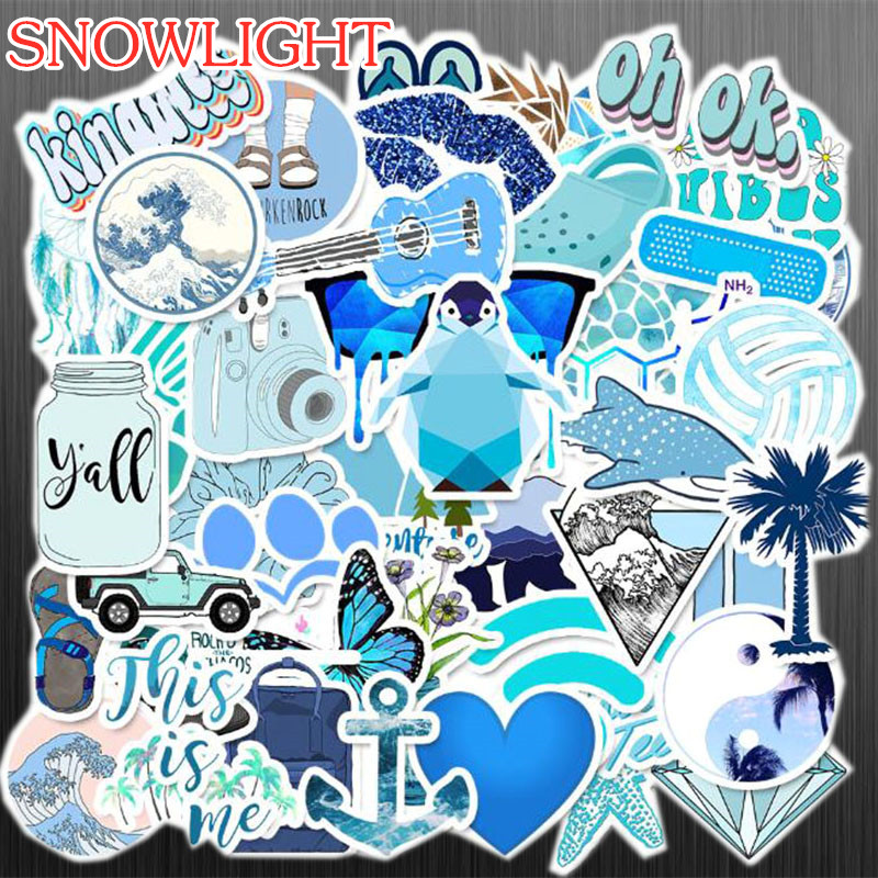 50 PCS Cartoon Blue Cure Stickers For Chidren Toy Waterproof Sticker To DIY Suitcase Laptop Bicycle Helmet Car Decals