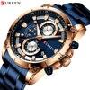 Часы CURREN Мужские кварцевые, дизайнерские Роскошные спортивные с хронографом из нержавеющей стали