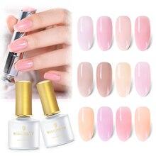 BORN PRETTY 6ml Jelly Pink  Nail Gel Polish UV Varnish Lacquer 12 Colors Semi-transparent Soak Off Manicure