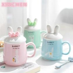 XINCHEN Kawaii 3D Cartoon Rabbit Ceramic Coffee Mug with Lid and Bow Spoon Porcelain Drinking Cup Coffee Milk Tea Cup