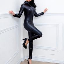 Women Casual Long Sleeve Playsuit Hot Patent Leather Jumpsuit Fashion Deep Turtl