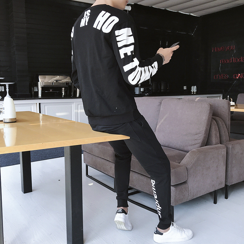 Sports Set Men's 2018 New Style Cotton Spring And Autumn Long Sleeve Running Casual Sports Clothing Hoodie Trousers Spring And A