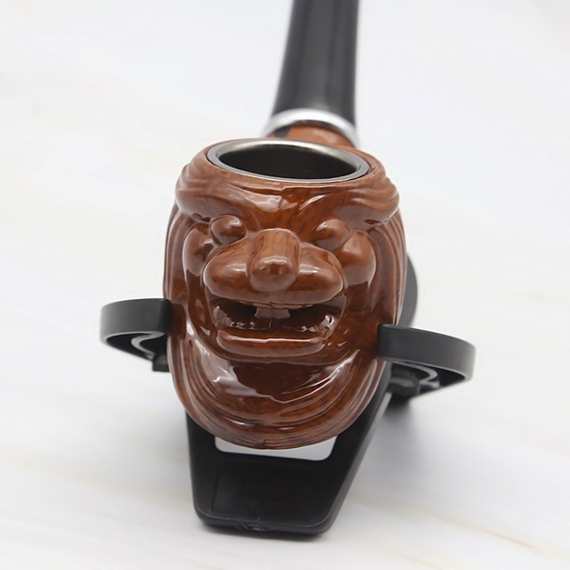 Lion Resin Pipe Chimney Double Filter Long Smoking Pipes Herb Tobacco Pipe Cigar Narguile Grinder Smoke Mouthpiece