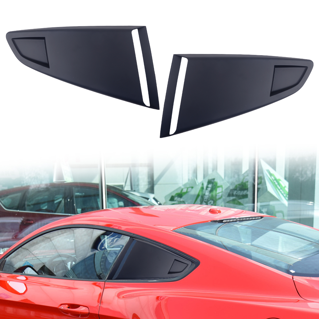 DWCX 1Pair Black Plastic Car Window Quarter Rear Louver Side Vent Scoop Cover Fit For <font><b>Ford</b></font> <font><b>Mustang</b></font> <font><b>2015</b></font> 2016 2017 2018 image