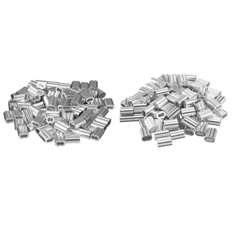 200Pcs Diameter Wire Rope Aluminum Alloy Sleeves Clip Fittings Cable Crimps - 100Pcs 3/32 Inch (3.0Mm) & 100Pcs 5/64 Inch (2Mm)
