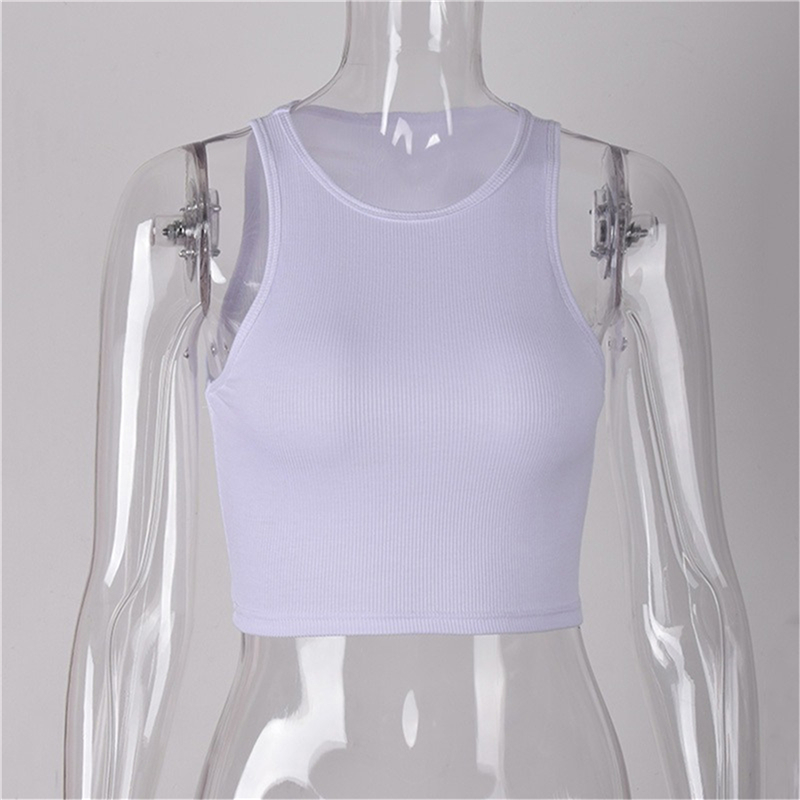 Women Sleeveless O Crop tops Tank Tops Solid Black/White 5