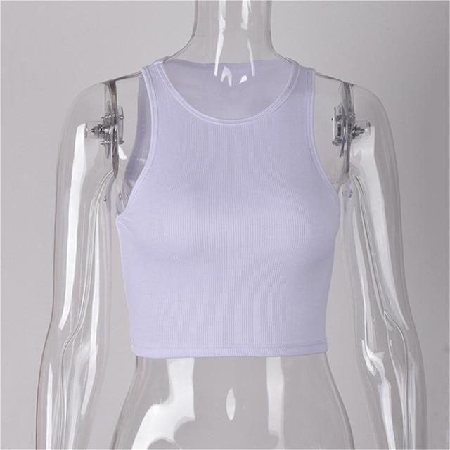 Summer Slim Render Short Tank Tops Sexy Women Sleeveless O Croptops Solid Black/White  5