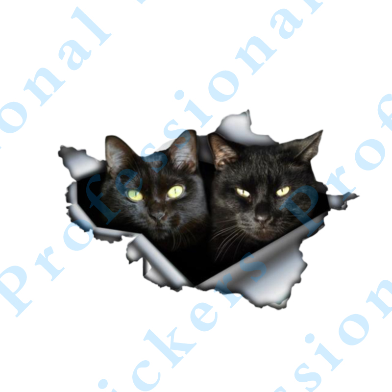 3D Animal 13 x 8.8 Black cat Sticker Torn Metal Vinyl Decal Lovely Car Stickers Motorcycle Trunk Animal 3D Car Styling