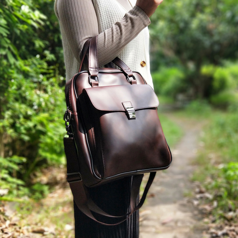 2019 Vintage Women Bag Vertical Literary Handbag Dress OL Fashion Business Briefcase