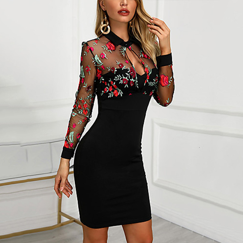 BacklakeGirls New Red Flower Embroidery Long Sleeve Cocktail Dress Sexy Cut Out V Neck Glamorous Women Dress Sukienki Koktajlowe