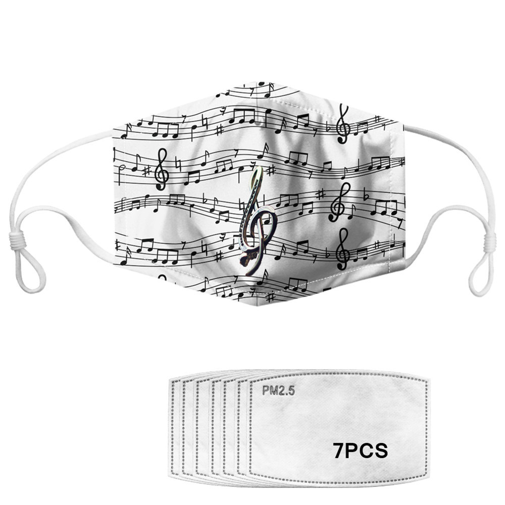 Customized Unisex Dustproof Pollution Face Mouth Mask With Paper Filters Straps Washable Reusable Music Note Masks