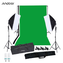 Andoer photographie Softbox Kit d'éclairage avec support de fond de Studio Photo noir blanc vert écran toile de fond 125W ampoules(China)