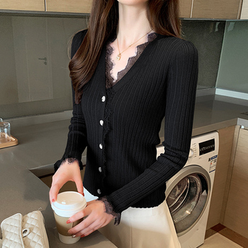 Ailegogo New Spring Women Cardigans Casual Female Lace V-neck Single Breasted Knitted Sweater Korean Style Slim Knitwear Tops 6