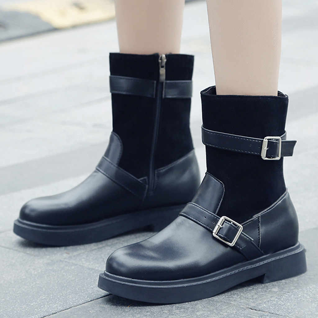 Buckle Strap Knight Boots Women PU Leather Suqare Heels Pure Color Round Toe flats Ankle Boots for Women chaussures femme