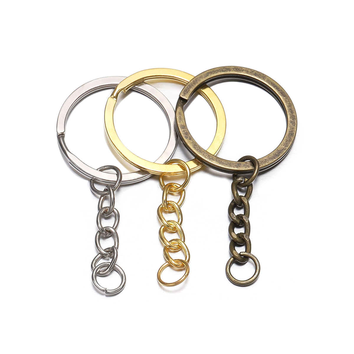 10 Pcs/lot Key Ring Key Chain Gold Rhodium Antique Bronze 60mm Long Round Split Keychain Keyrings Jewelry Making Bulk Wholesale