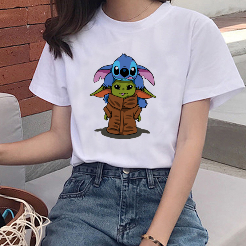 T-shirt Fashion Women Harajuku Casual Clothing T-shirt Cartoon Disney  S Stitch Tops T-shirt Female Cartoon Print Pattern