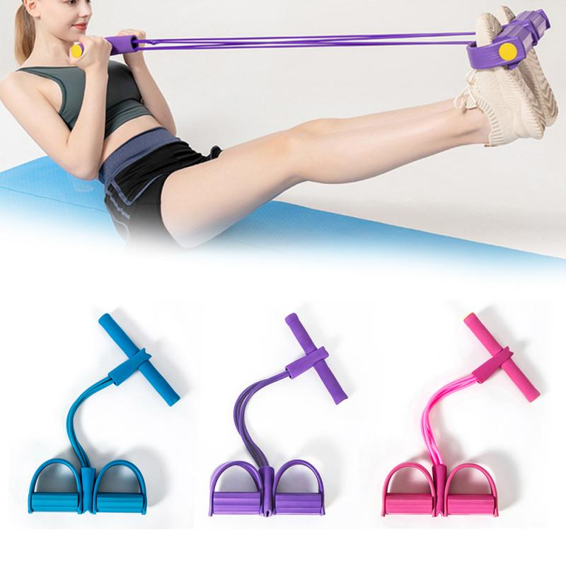 Multifunction <font><b>4</b></font> <font><b>Tubes</b></font> <font><b>Fitness</b></font> Elastic Sit Up Pull <font><b>Rope</b></font> Abdominal Exerciser Home Gym Sport Equipment Pull <font><b>Rope</b></font> Pedal Ankle Puller image