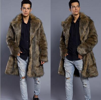Autumn Long Faux Mink Leather Jacket Mens Winter Thicken Warm Fur Leather Coat Men Slim Jackets Jaqueta De Couro B28