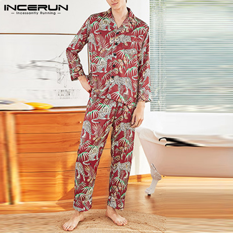 INCERUN Fashion Men Chic Print Long Sleeve Pajamas Sets Comfort Home Clothes Couple Baggy Sleepwear Suit Soft Loungewear Outfits