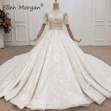 בציר תחרה כדור שמלות חתונה שמלות לנשים סעודית אלגנטי נסיכת קצר שרוולי חרוזים שנהב שמלות כלה 2020