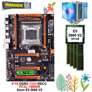 Discount mobo with CPU RAM HUANANZHI deluxe X79 gaming motherboard with M.2 slot CPU Xeon E5 2660 V2 with cooler RAM 64G(4*16G)