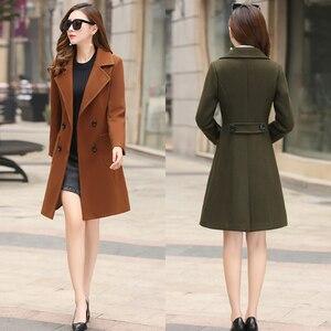 Image 2 - 모직 여성 자켓 코트 긴 슬림 블렌드 겉옷 2019 새로운 가을 겨울 착용 오버코트 여성 숙녀 모직 코트 자켓 의류